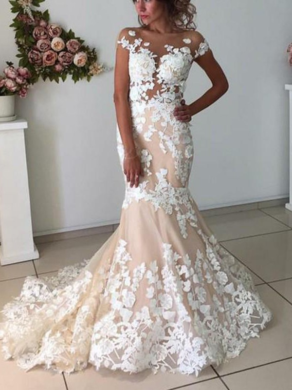 Vibrant Stylist Mermaid Style Tulle With Applique Bateau Short Sleeves Sweep/Brush Train Wedding Dresses