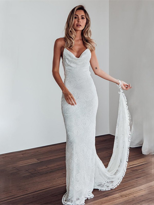 Romantic Vibes Sheath Style Lace Spaghetti Straps Sweep/Brush Train Wedding Dresses