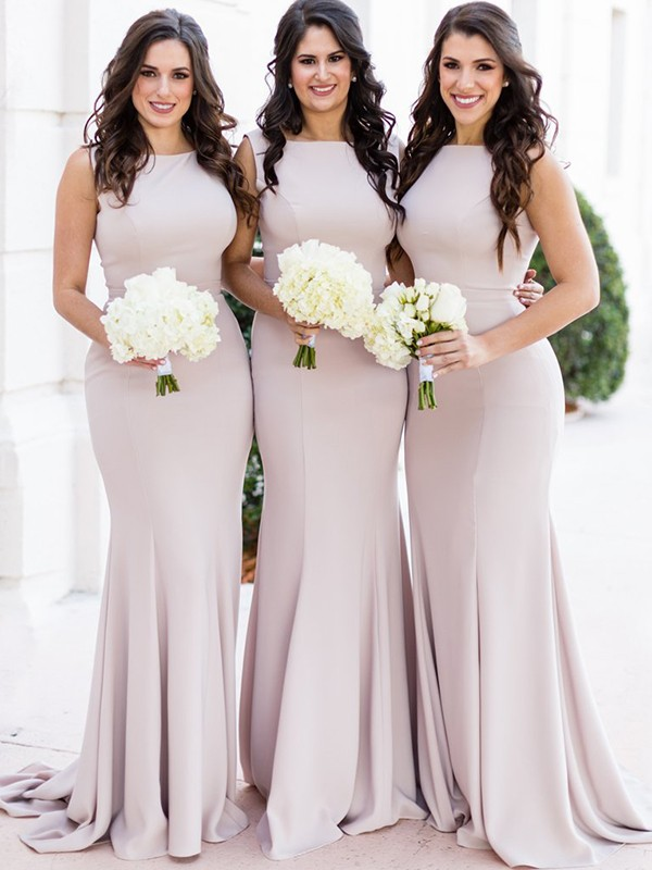 Dashing Darling Sheath Style Sheer Neck Sweep/Brush Train Spandex Bridesmaid Dresses