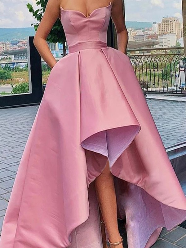 Savor the Occasion Princess Style Satin Ruffles Sweetheart Sleeveless Asymmetrical Dresses
