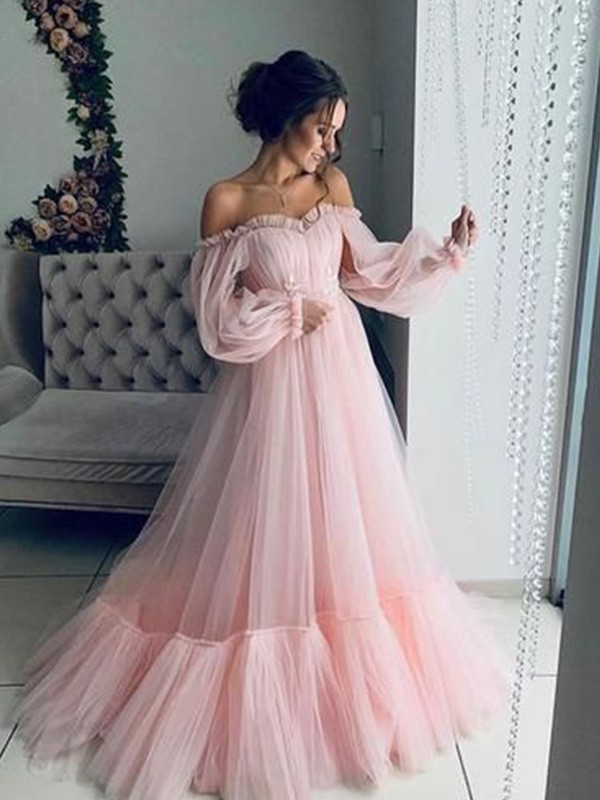 Pleasant Emphasis Princess Style Tulle Applique Off-the-Shoulder Long Sleeves Floor Length Dresses
