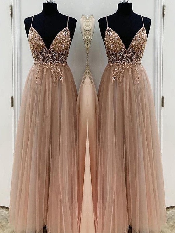 Time to Shine Princess Style Beading Tulle Spaghetti Straps Sleeveless Floor-Length Dresses