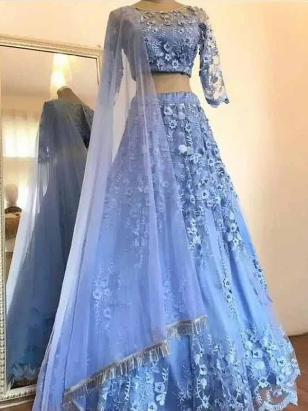 Efflorescent Dreams Princess Style Tulle Applique Scoop 3/4 Sleeves Floor-Length Two Piece Dresses