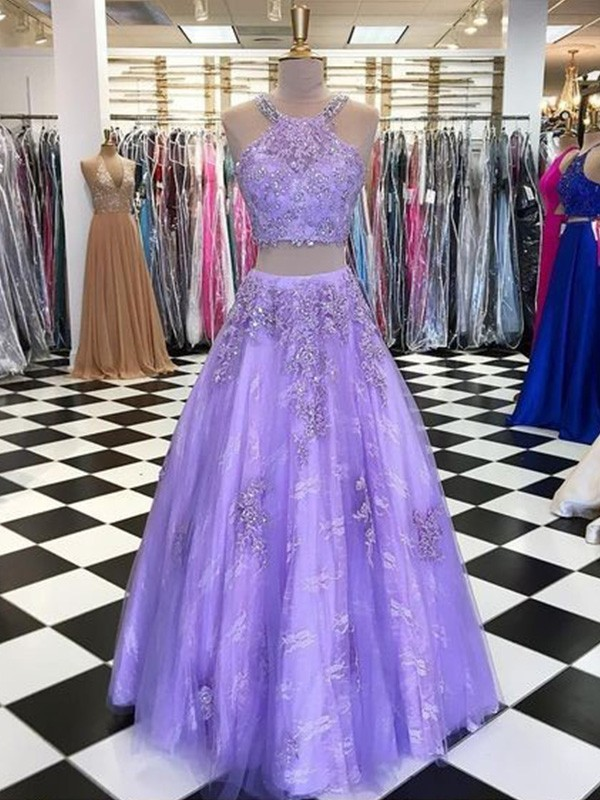 Voiced Vivacity Princess Style Tulle Beading Halter Sleeveless Floor-Length Two Piece Dresses