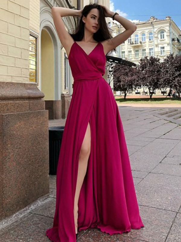 Beautiful You Princess Style Satin Chiffon Spaghetti Straps Ruffles Sleeveless Sweep/Brush Train Dresses