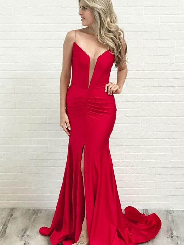 Naturally Chic Princess Style Spaghetti Straps Ruched Stretch Crepe Sleeveless Court Train Dresses