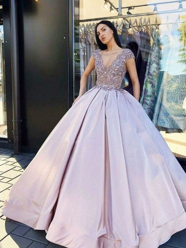 Eye-Catching Charm Ball Gown Satin Beading V-neck Short Sleeves Floor-Length Dresses