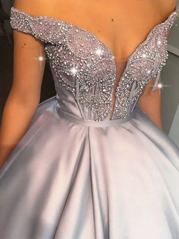 Intuitive Impact Ball Gown Beading Satin Off-the-Shoulder Sleeveless Floor-Length Dresses
