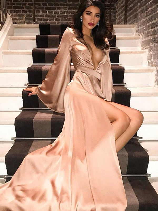 Cordially Delighted Princess Style V-neck Silk Like Satin Long Sleeves Sweep/Brush Train Ruched Dresses