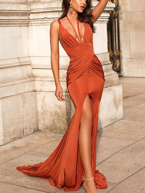 Festive Self Mermaid Style Ruched Sleeveless Satin V-neck Sweep/Brush Train Dresses