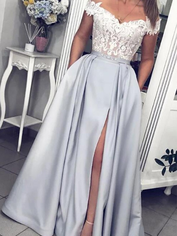 First Impressions Princess Style Satin Lace Sleeveless Off-the-Shoulder Floor-Length Dresses