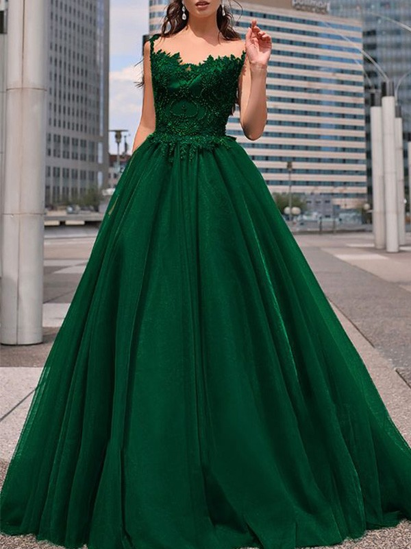 Cheerful Spirit Princess Style Bateau Tulle Beading Floor-Length Sleeveless Dresses
