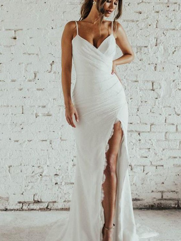 Sheath/Column Spaghetti Straps Ruched Sleeveless Lace Sweep/Brush Train Wedding Dresses
