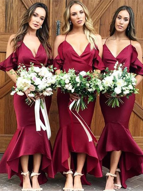 Trumpet/Mermaid Satin Ruffles Spaghetti Straps Sleeveless Asymmetrical Bridesmaid Dresses