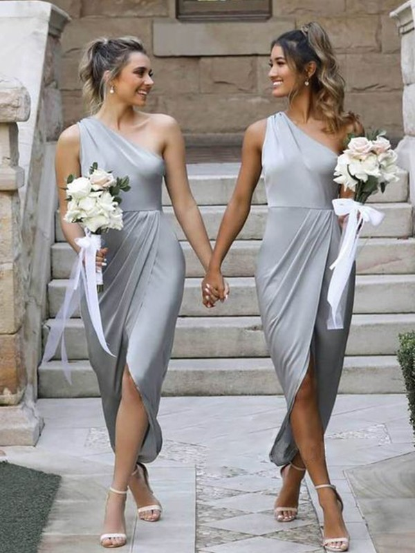 Sheath/Column Ruffles Silk like Satin Sleeveless One-Shoulder Asymmetrical Bridesmaid Dresses