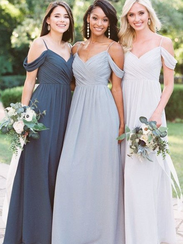 A-Line/Princess Off-the-Shoulder Chiffon Ruffles Sleeveless Floor-Length Bridesmaid Dresses