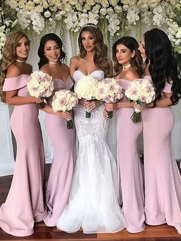Trumpet/Mermaid Stretch Crepe Ruffles Off-the-Shoulder Sleeveless Sweep/Brush Train Bridesmaid Dresses