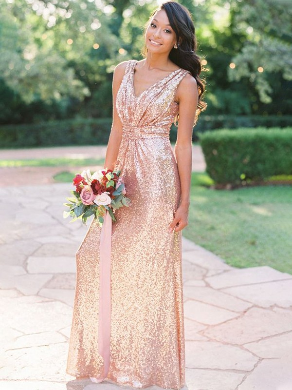 A-Line/Princess Sequins V-neck Floor-Length Ruffles Sleeveless Bridesmaid Dresses