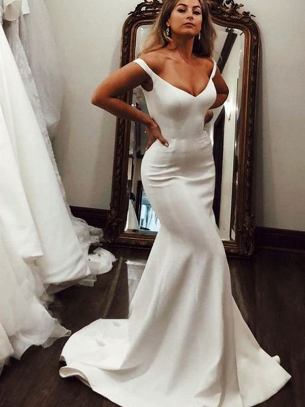 Trumpet/Mermaid V-neck Sleeveless Sweep/Brush Train Ruffles Stretch Crepe Wedding Dresses