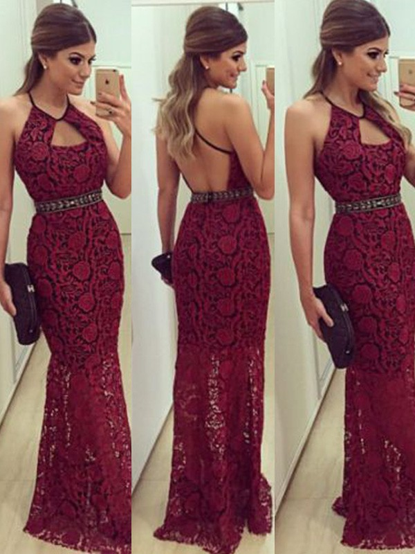 Befits Your Brilliance Sheath Style Beading Floor-Length Halter Lace Dresses