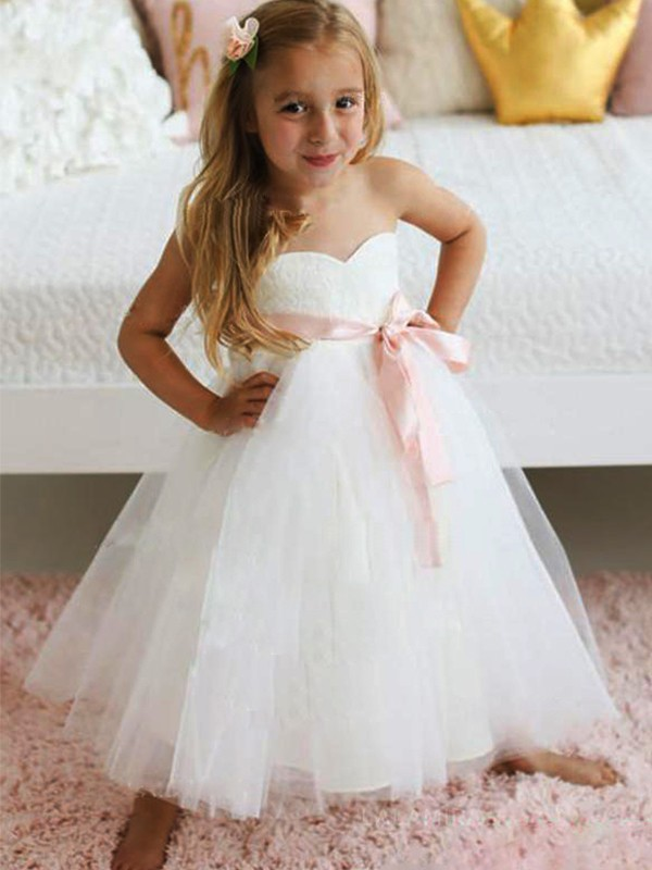 A-Line/Princess Tulle Sash/Ribbon/Belt Sweetheart Sleeveless Ankle-Length Flower Girl Dresses