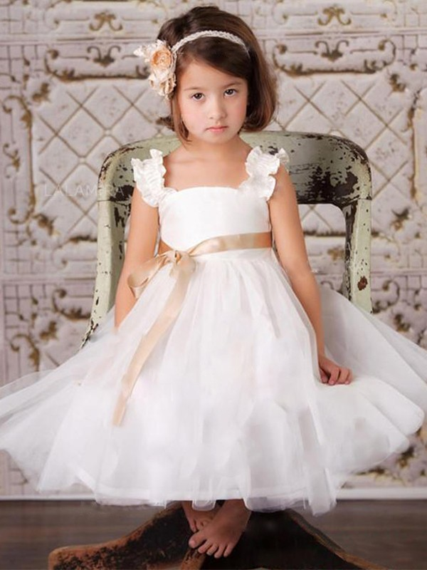 A-Line/Princess Sash/Ribbon/Belt Straps Sleeveless Tulle Ankle-Length Flower Girl Dresses