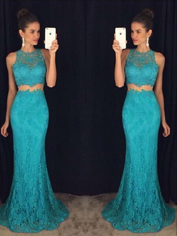 Modern Mood Sheath Style Scoop Floor-Length Lace Dresses