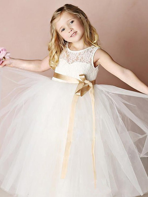 A-Line/Princess Tulle Sash/Ribbon/Belt Scoop Sleeveless Floor-Length Flower Girl Dresses