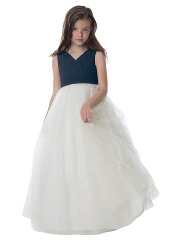 A-Line/Princess Tulle Ruched V-neck Sleeveless Floor-Length Flower Girl Dresses
