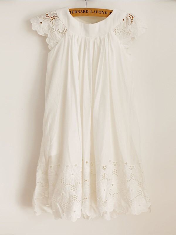 A-Line/Princess Scoop Applique Short Sleeves Knee-Length Flower Girl Dresses