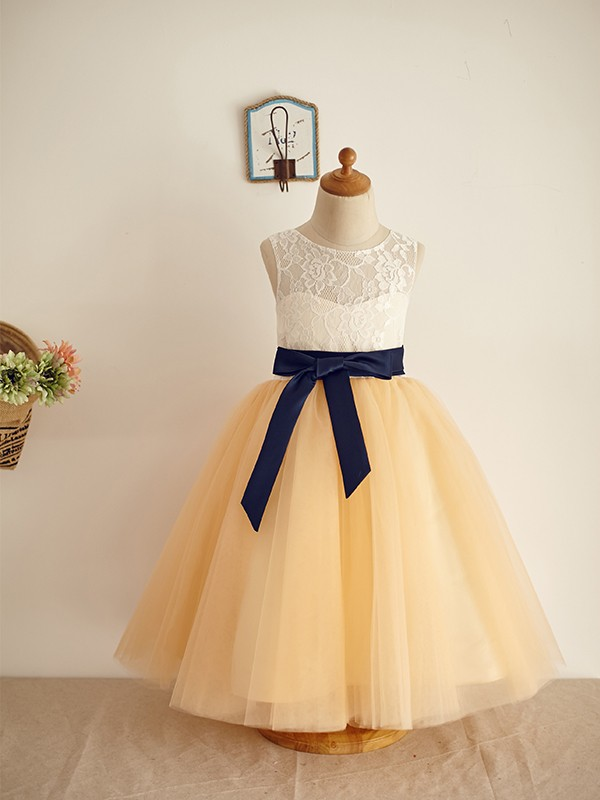 A-Line/Princess Sleeveless Tulle Lace Scoop Floor-Length Flower Girl Dresses