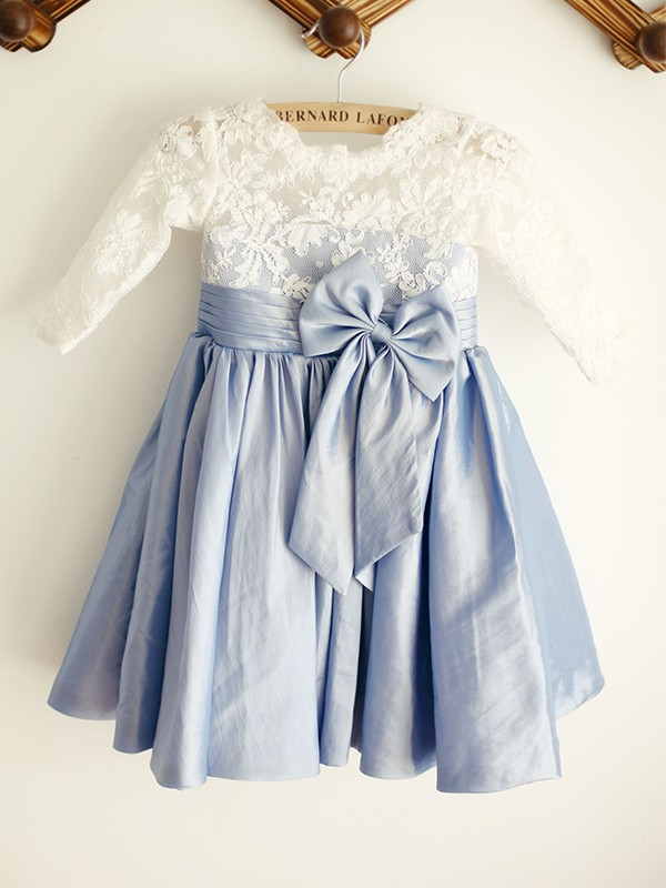 A-Line/Princess Taffeta Lace Scoop 3/4 Sleeves Knee-Length Flower Girl Dresses