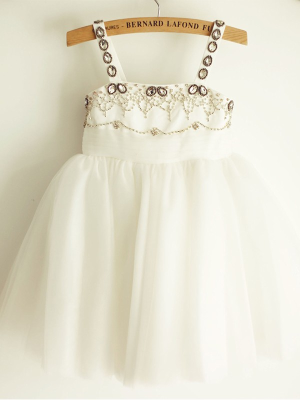 A-Line/Princess Tulle Beading Sleeveless Straps Knee-Length Flower Girl Dresses