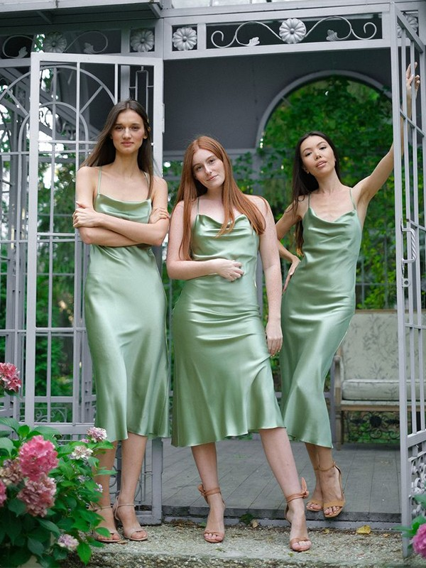 Sheath/Column Spaghetti Straps Ruched Satin Sleeveless Tea-Length Bridesmaid Dresses