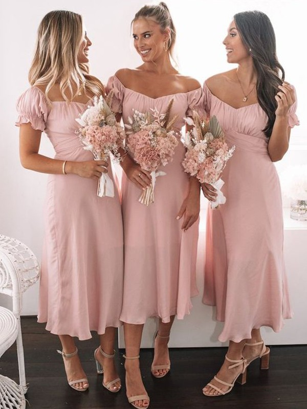 A-Line/Princess Sweetheart Satin Ruched Short Sleeves Tea-Length Bridesmaid Dresses