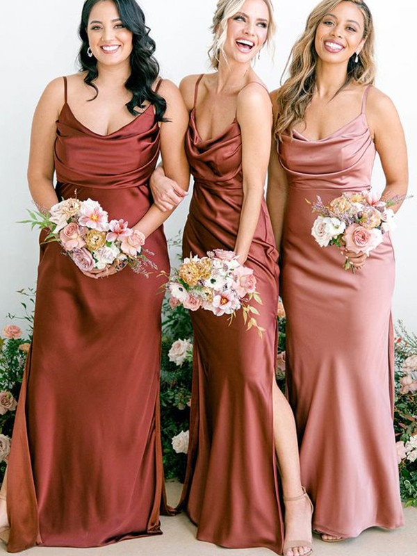 Sheath/Column Satin Ruched Square Sleeveless Floor-Length Bridesmaid Dresses