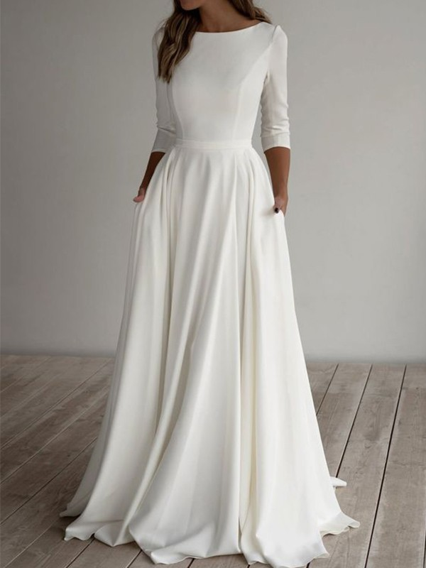 A-Line/Princess Stretch Crepe Ruffles Scoop 3/4 Sleeves Floor-Length Wedding Dresses