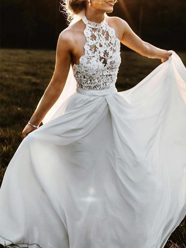 A-Line/Princess Chiffon Halter Lace Sleeveless Floor-Length Wedding Dresses
