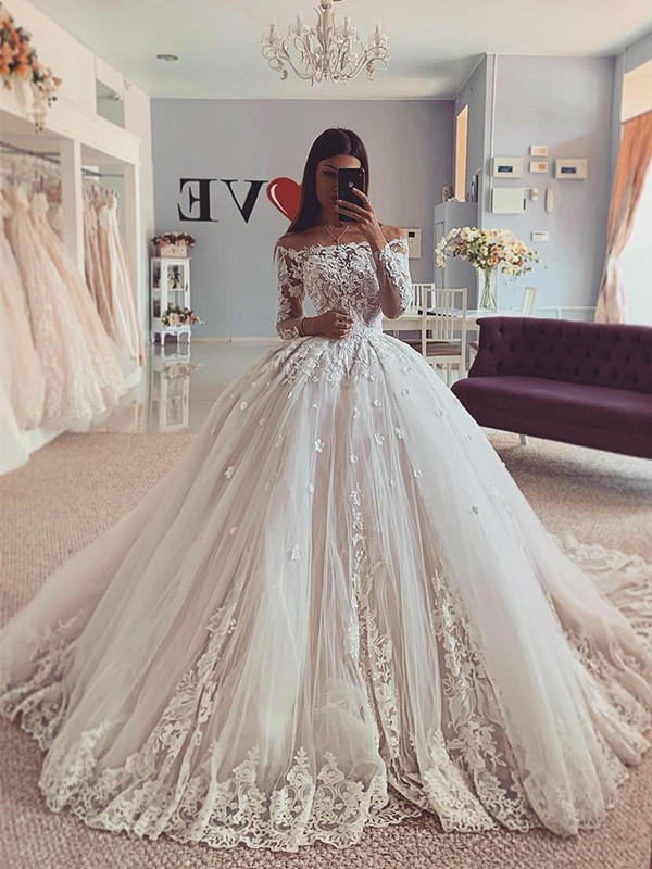 Ball Gown Tulle Off-the-Shoulder Applique Long Sleeves Court Train Wedding Dresses