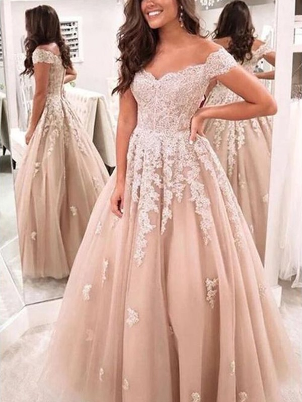 A-Line/Princess Tulle Applique Off-the-Shoulder Sleeveless Floor-Length Dresses