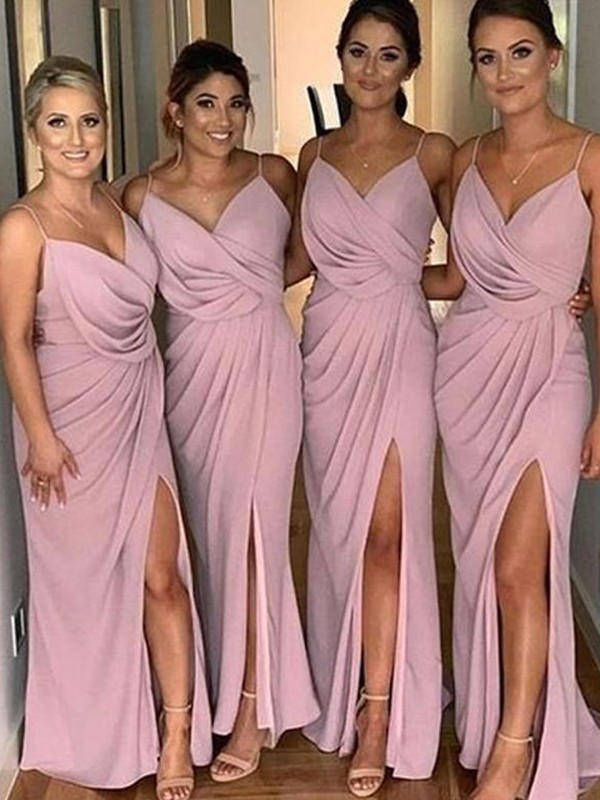 Sheath/Column Silk like Satin Ruched Spaghetti Straps Sleeveless Sweep/Brush Train Bridesmaid Dresses