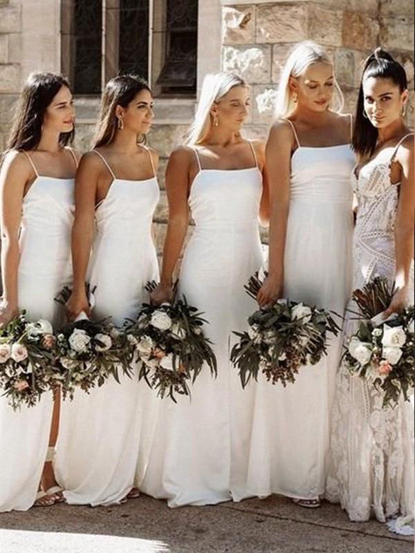 Sheath/Column Satin Spaghetti Straps Sleeveless Ruched Floor-Length Bridesmaid Dresses