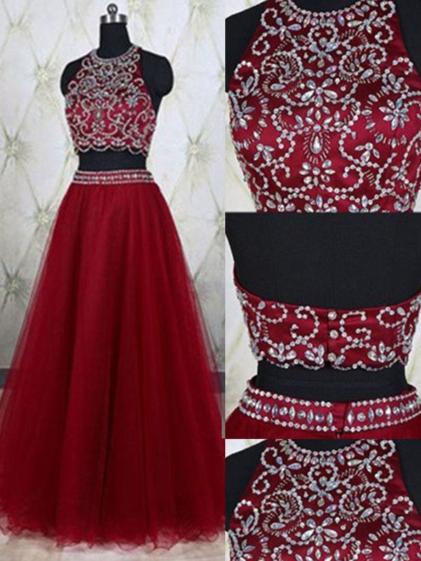 Romantic Vibes Princess Style Jewel Tulle Beading Floor-Length Two Piece Dresses