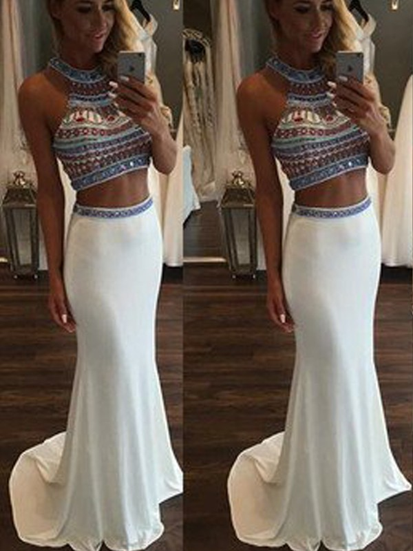 Beautiful You Mermaid Style Halter Beading Sweep/Brush Train Chiffon Two Piece Dresses