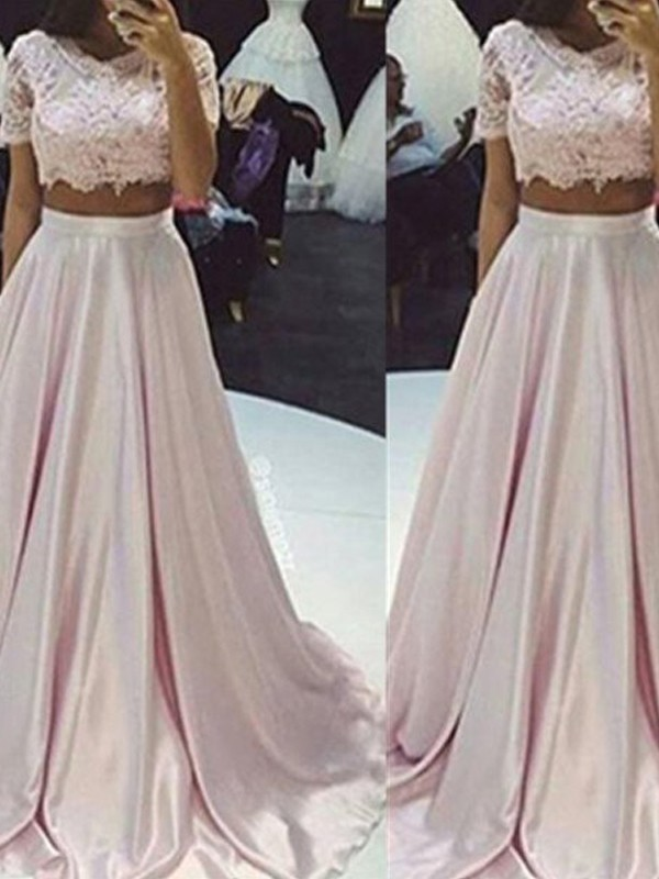 Easily Adored Princess Style Scoop Floor-Length Lace Taffeta Two Piece Dresses