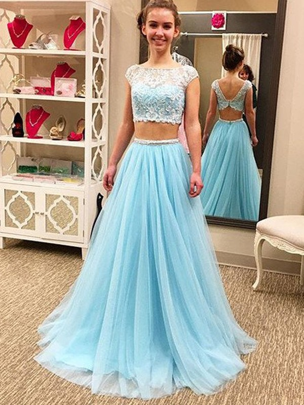 Pleasant Emphasis Princess Style Scoop Floor-Length Beading Tulle Two Piece Dresses