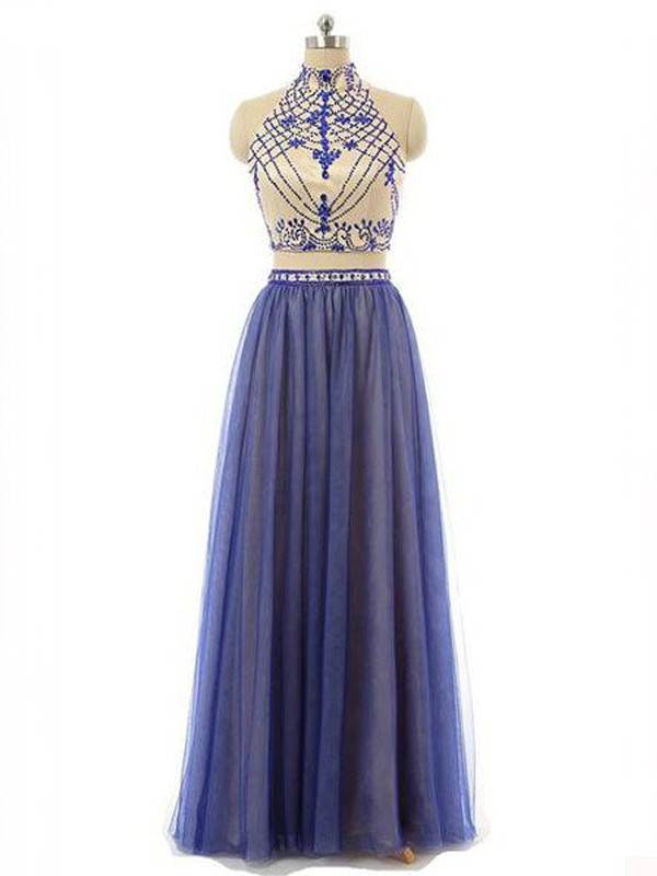 Chic Chic London Princess Style High Neck Chiffon Beading Floor-Length Two Piece Dresses