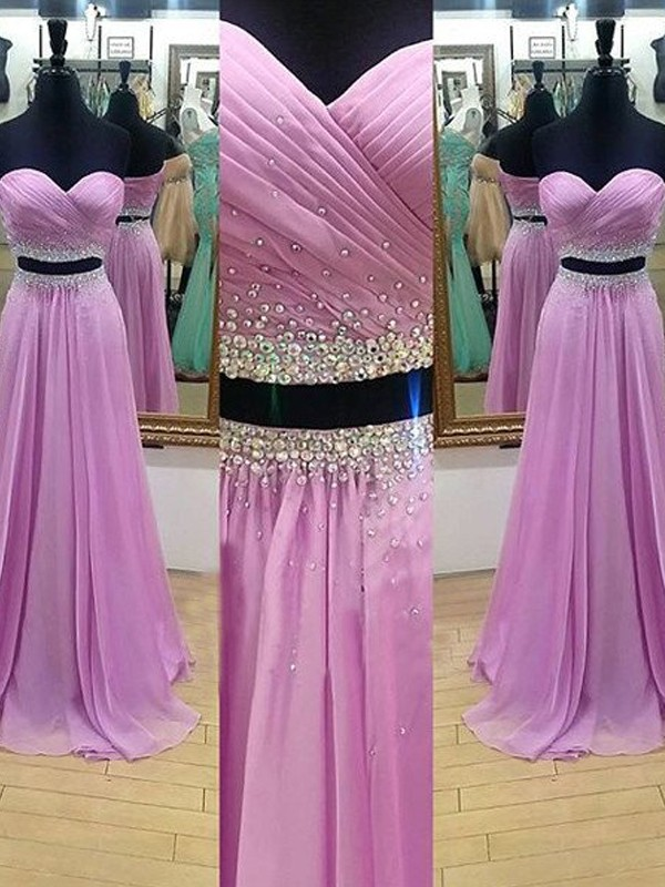 Visual Moment Princess Style Sweetheart Floor-Length Beading Chiffon Two Piece Dresses