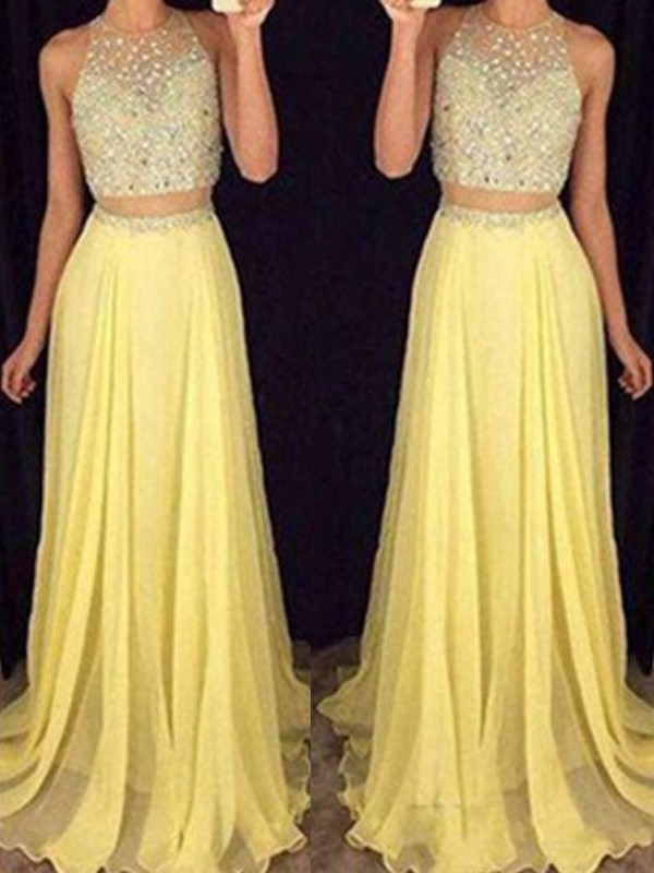 Cheerful Spirit Princess Style Scoop Sweep/Brush Train Beading Chiffon Two Piece Dresses