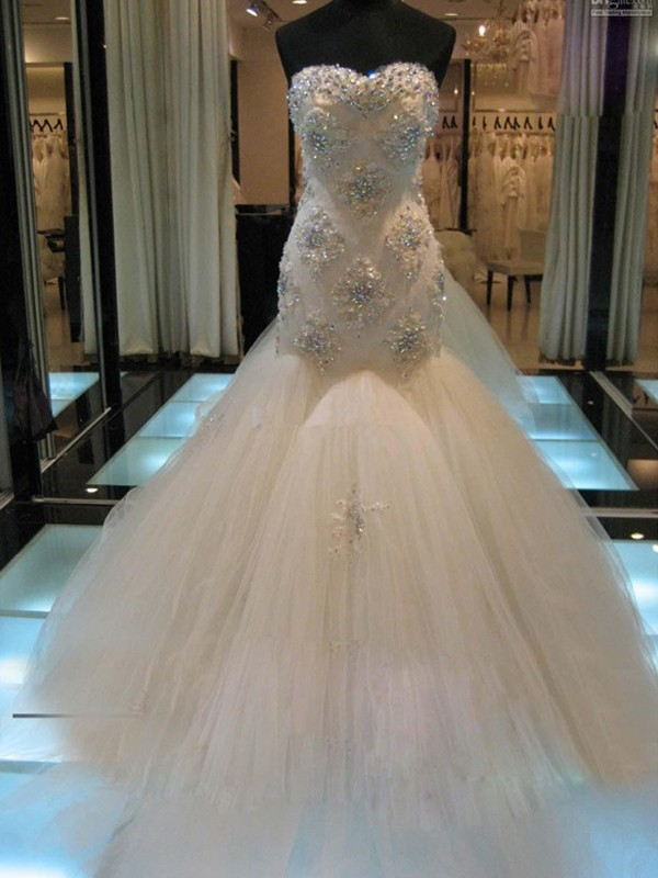 Automatic Classic Mermaid Style Sweetheart Court Train Beading Tulle Wedding Dresses